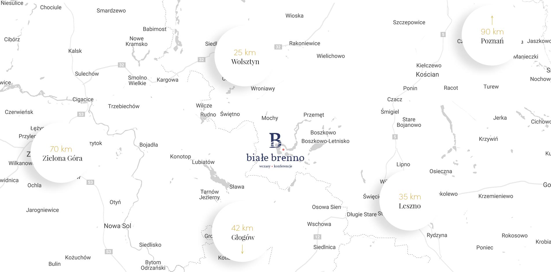 mapa 2 - Białe Brenno, noclegi, domki brenno domki, jezioro, przemęcki park krajobrazowy, Leszno, Wolsztyn, Zielona Góra, Poznań, Głogów, Boszkowo, mapa okolicy